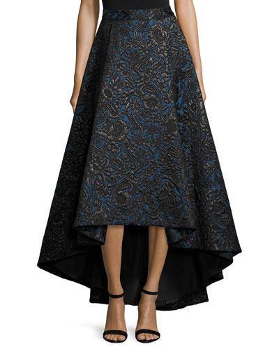 Floral Jacquard High-Low Skirt, Black/Blue