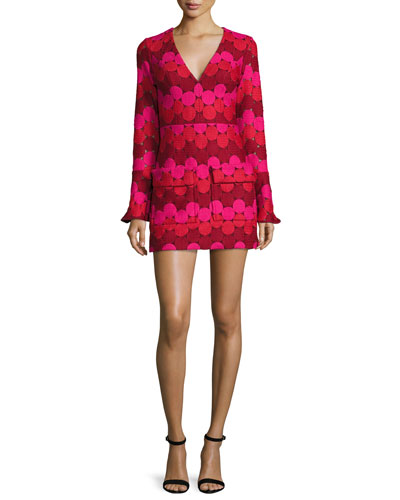 Annelise Bell-Sleeve Embroidered-Dot Minidress, Aurora