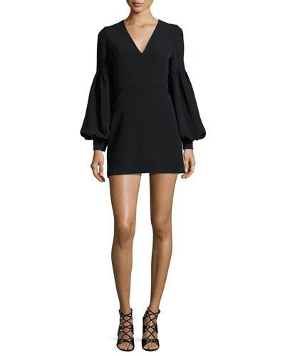 Ellena Bishop-Sleeve Minidress, White