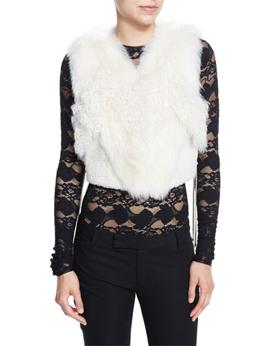 Cora Shearling Fur-Patch Vest, Ivory