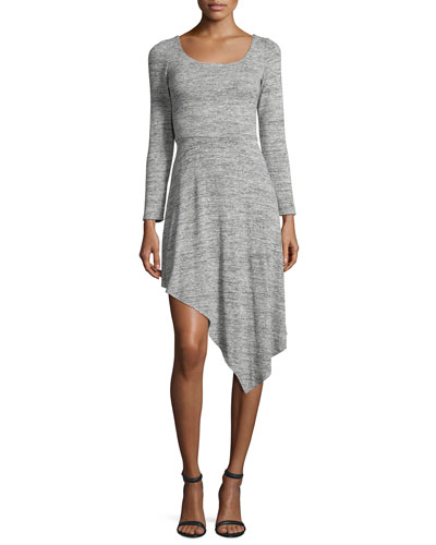 Geneva Long-Sleeve Asymmetric-Hem Dress, Gray