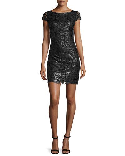 Penni Faux-Leather Lace Dress, Black