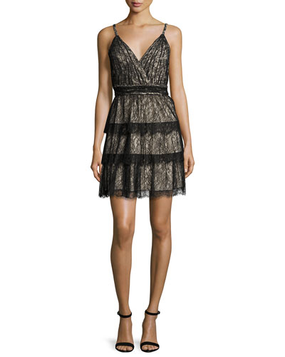 Olive Tiered Lace Mini Dress, Black/Brown
