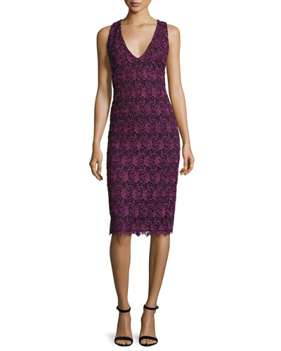 Preslee Fitted Lace Midi Dress, Plum