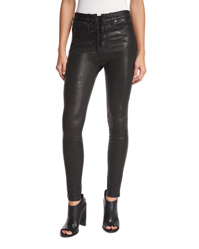 High-Rise Lace-Up Leather Jeans, Black