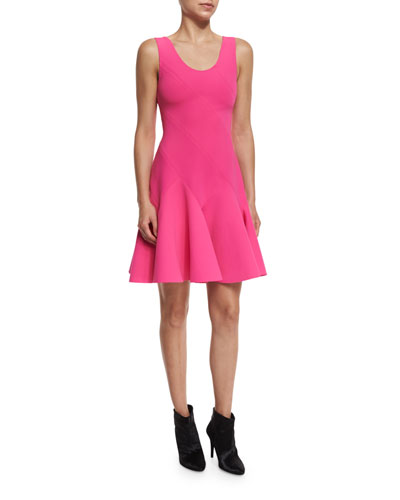 Sleeveless Fit-and-Flare Ponte Mini Dress, Hot Pink