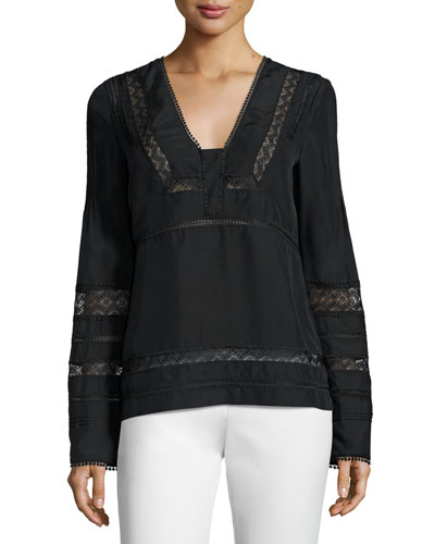 Long-Sleeve Silk Lace-Trim Blouse, Black