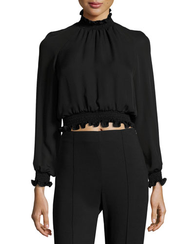 Hera Cropped Frill Silk Blouse, Black