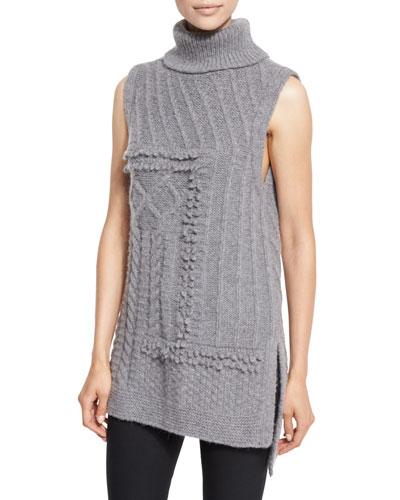 Sleeveless Oversized Turtleneck Sweater, Gray Melange
