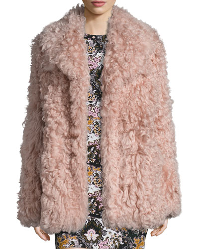 Stone Shearling Jacket, Dusty Pink