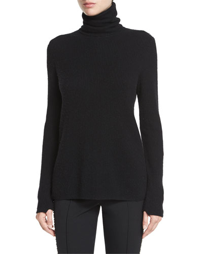 Pippa Ribbed Wool-Blend Sweater, Black