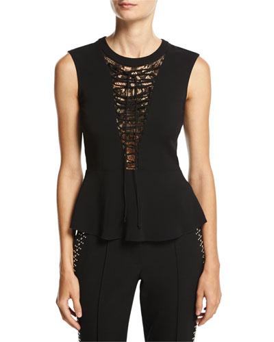 Marin Sleeveless Lace-Trim Peplum Top, Black