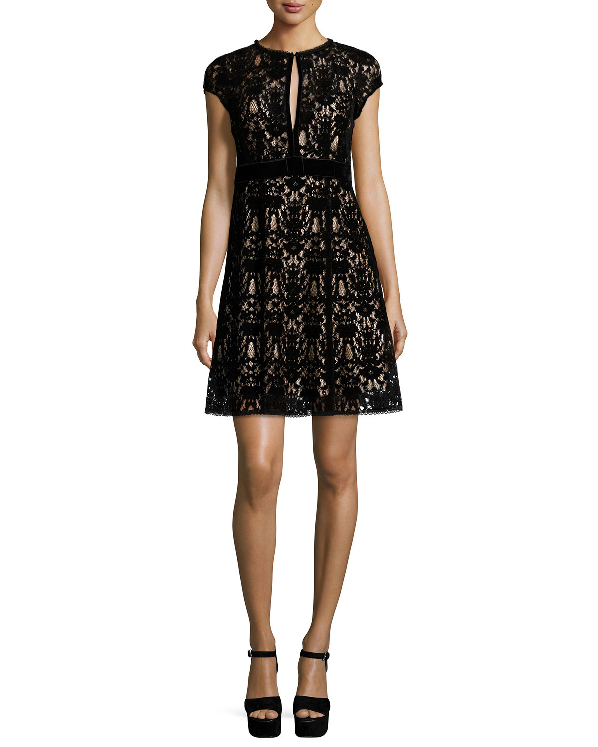 Cap-Sleeve Lace Keyhole Cocktail Dress, Black