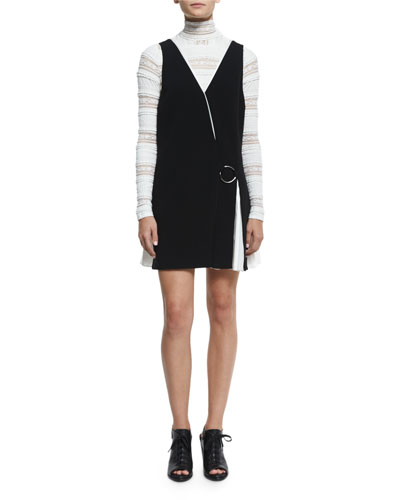 Vega Sleeveless Two-Tone Dress, Black/ Ivory
