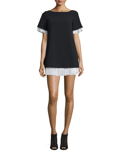 Clementine Pleated-Trim Shift Dress, Black/Ivory