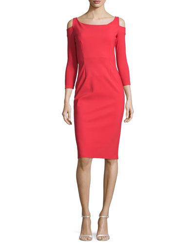 Kerrie Cold-Shoulder Cocktail Dress, Red