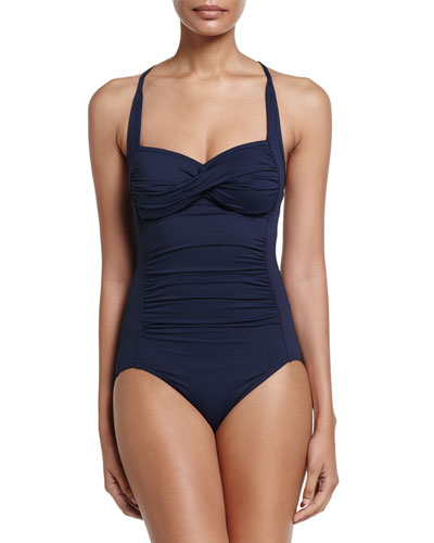 Goddess Twist Halter One-Piece Swimsuit, Indigo