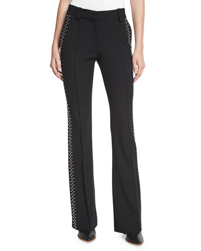 Luke Studded Boot-Cut Pants, Black