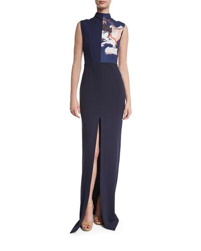 Solane Sleeveless Maxi Dress w/ Print, Navy