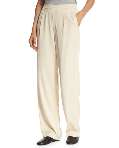 Pleated Crepe Pull-On Trousers, Bleached