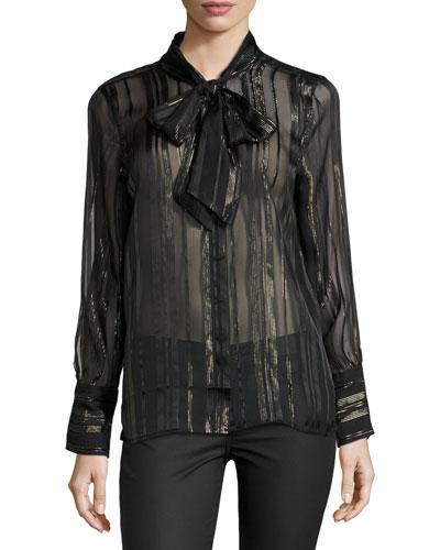 Leema Lace-Trim Tie-Neck Blouse, Black
