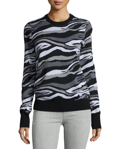 Ondine Striped Crewneck Sweater, Black Multi