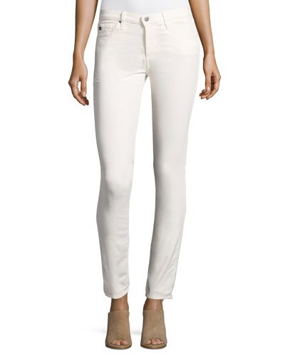 Prima Mid-Rise Cigarette Jeans, Powder White