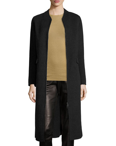 Wool-Blend Shell Coat, Dark Gray/Graphite