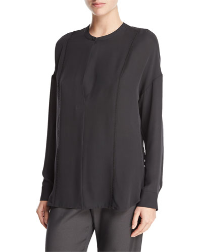 Long-Sleeve Embroidered Stretch-Silk Blouse, Graphite