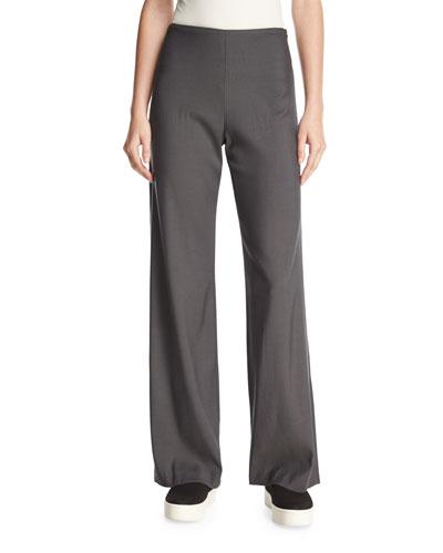 Deconstructed Wide-Leg Pants, Dark Gray