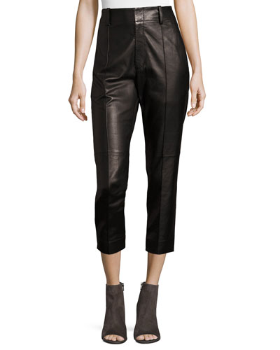 Leather Carrot Pants, Black