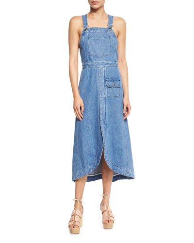 Denim Overall Midi Dress, Washed Indigo