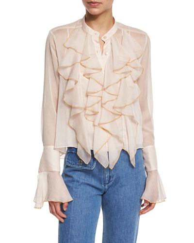 Long-Sleeve Sheer Chiffon Ruffle Blouse, Powder