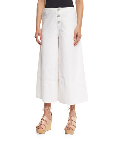 Button-Front Cotton Culottes, White Lily