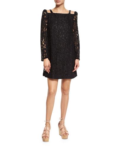 Long-Sleeve Lace Mini Dress, Black