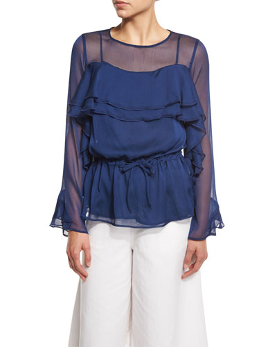 Long-Sleeve Chiffon Ruffle Blouse, Blue Night
