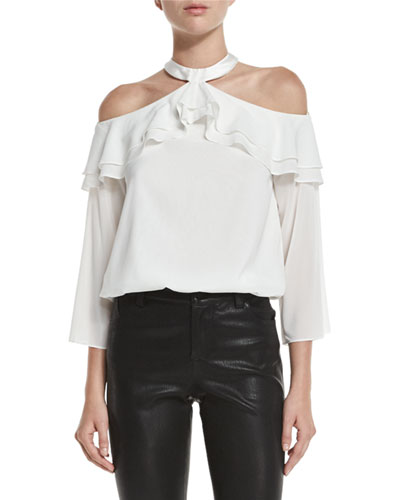 Layla Cold-Shoulder Ruffle Blouson Top, Cream