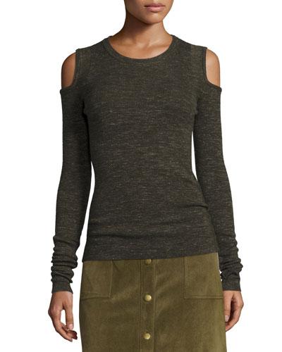 The Melange Cold-Shoulder Sweater, Moss Green