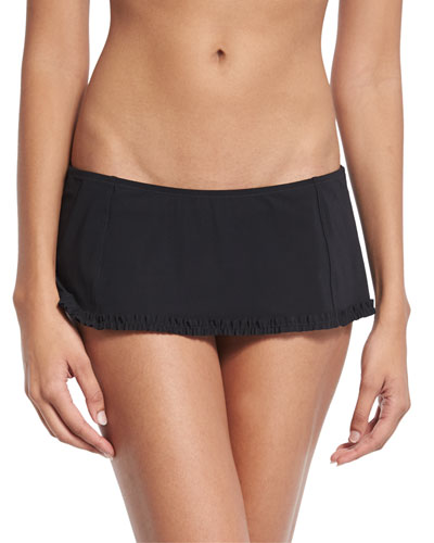Solid Ruffle Skirted Swim Bottom, Black