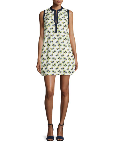 Floral-Print Beach Dress, New Ivory