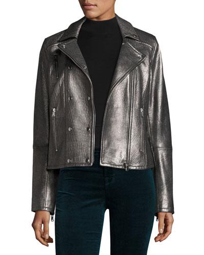 Valo Leather Moto Jacket, Silver
