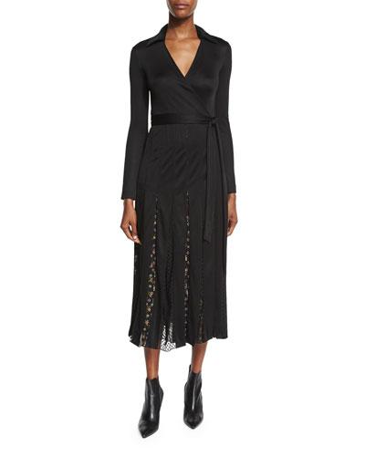 Stevie Floral & Swiss Dot Midi Wrap Dress, Black/Tendu Black