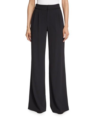 Cobi Double-Pleated Tuxedo Pants, Black