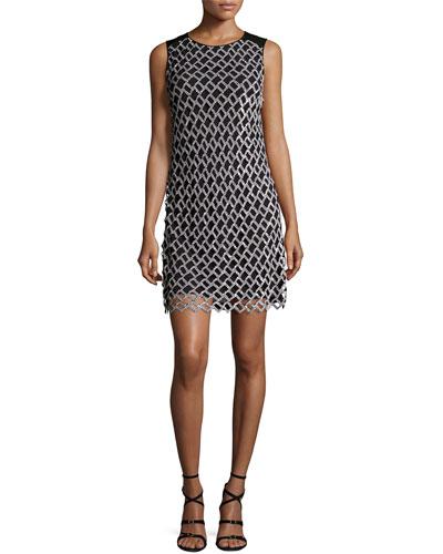 Joylyn Embellished Cocktail Dress, Black/White
