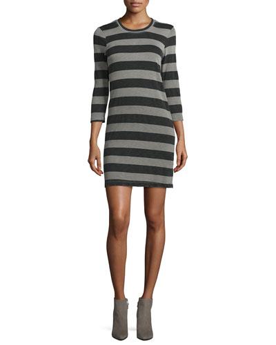The 3/4-Sleeve Striped Dress, Gray Loco Stripe