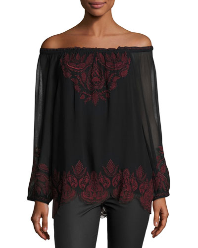 Ariena Off-the-Shoulder Embroidered Blouse, Caviar/Cabernet