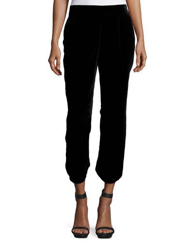 Jaylon Velvet Ankle Pants, Caviar