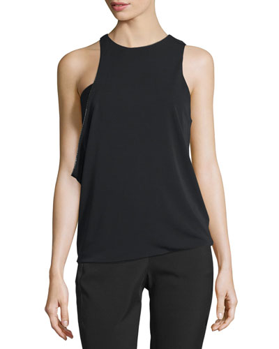 Sleeveless Jewel-Neck Asymmetric Draped Top, Black