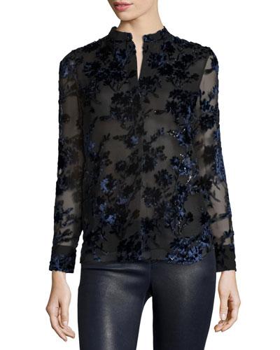 Belle Flocked-Floral Long-Sleeve Shirt, Multicolor