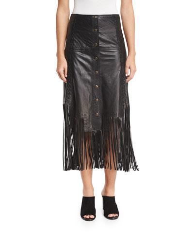 Leather Fringe Midi Skirt, Black